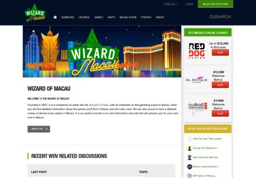 Vip Casino Directory for Wizard of Macau - Las Macau casino and show reviews and forums news analysis blue bonus description chumash vip