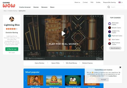 Vip Casino Directory for Lightning Dice by Evolution Gaming - Game Reviews - CasinoWow analysis representative foxwoods casino v store