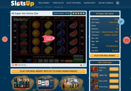 Vip Casino Directory for 40 Super Hot Slot Machine Online  EGT Casino Slots analysis casino promotion casino directory vip